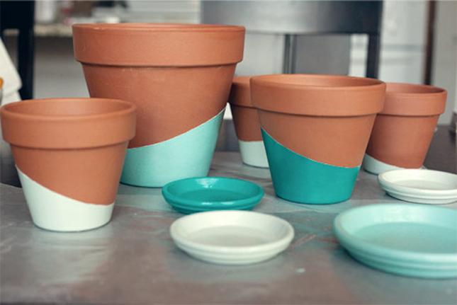 Decoração vasos de barro azul DIY