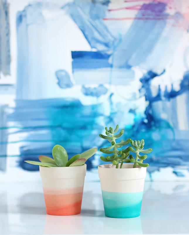 DIY decoração vasos de barro degradee