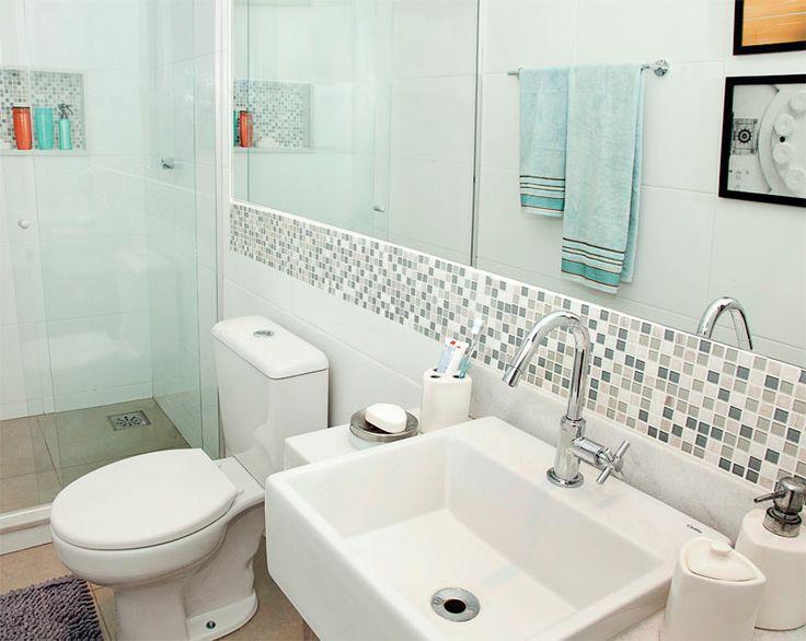 Tudo para você decorar a sua suíte pequena -> Banheiro Pequeno Casal