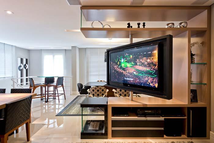 Tv Giratoria Sala E Cozinha ~ Conheça o segredo para ter uma tv para dois ambientes