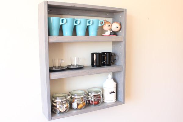 DIY nicho com prateleira nicho de parede porta xícara organizador cozinha banheiro (4)