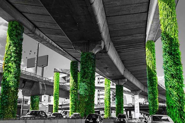 colunas de viadutos do méxico jardins-verticais